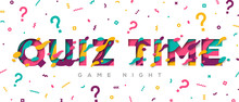 Quiz Time Typography Design With Abstract Paper Cut Shapes On White Background. Vector Illustration. Colorful 3D Carving Art. Fast Questions And Answers Game.