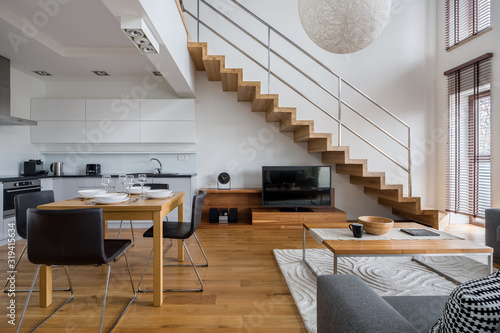 Two-floor apartment with wooden elements Canvas Print