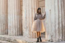 Teen Girl In Brown Tulle Skirt...