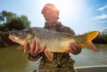 Happy Angler Holds Big Carp Fi...