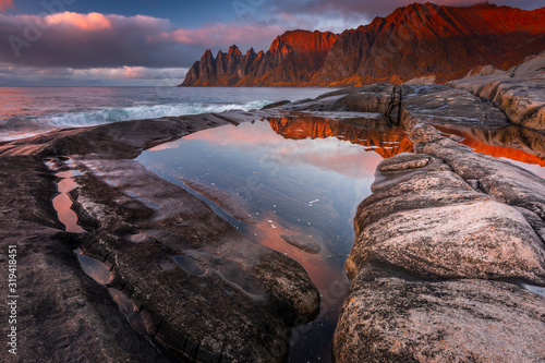 Fototapeta Autumn in Senja Island in Norway with beautiful light and colors. obraz