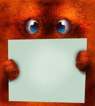 Orange Hairy Face Monster With Sign
