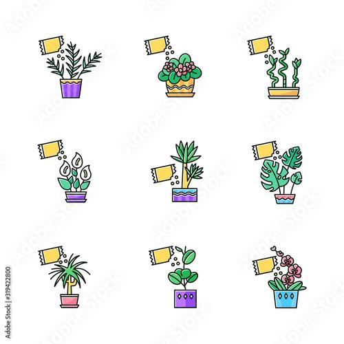 Houseplant fertilizing RGB color icons set Canvas-taulu