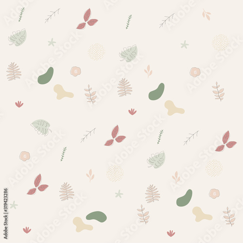Colorful flowers and leaves poster background vector illustration. Exotic plants, branches, flowers and leaves art print for beauty, fashion and natural products, spa and wellness, wedding and event Wall mural