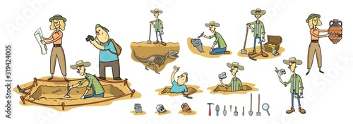 Archaeology, paleontology and treasure hunting, archaeologists on excavation site Canvas Print