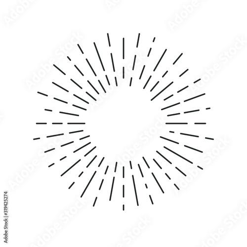Obraz Rays linear drawn symbol. Rays grunge backdrop. Sign isolated on white background. Vector illustration - fototapety do salonu