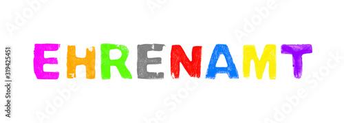 Obraz na plátně Ehrenamt - Text aus bunten grunge Buchstaben