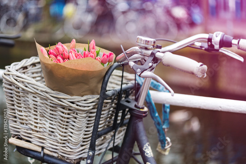 basket with tulips on a bike Wallpaper Mural