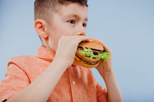 Close Up Little Boy Eats A Burger. Fast Food And Junk Food. Look With Taste. Kids Love Burgers. Isolated On Blue Background. Studio. Look At The Camera