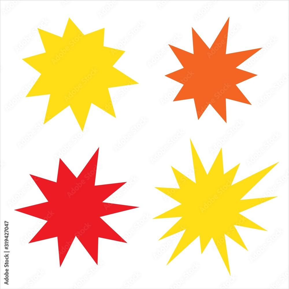Fototapeta Irregular sunburst badges set. Starburst isolated for promo flyers and advertising. Burst for comics