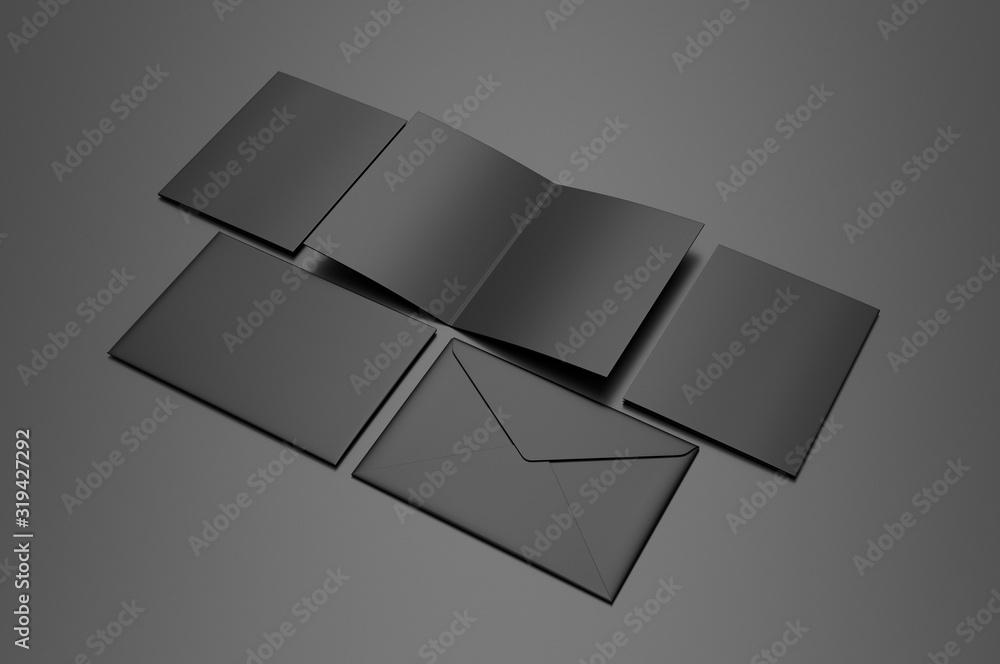 Fototapeta Blank bi fold card template, 3d render illustration.
