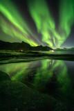 Fototapeta Na ścianę - Aurora Borealis in Lofoten and Senja in Norway. Night photography with great sky.