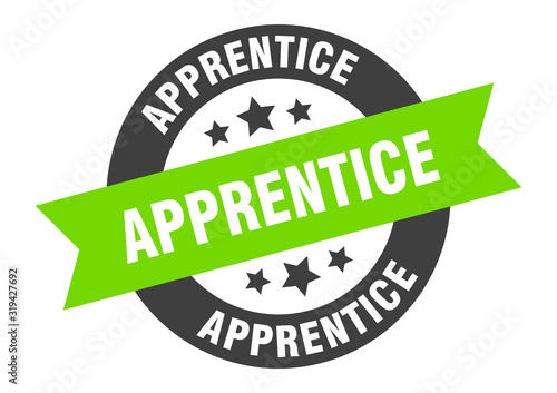 apprentice sign. apprentice round ribbon sticker. apprentice tag Canvas Print