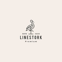 Stork Logo Colorful Line Art Monoline Outline Vector Illustration Hipster Retro Vintage