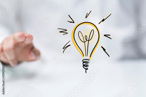 Obraz idea lamp concept in hand. - fototapety do salonu