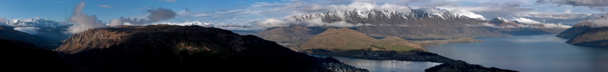 Lake Waktipu Queenstown Panorama. New Zealand. Mountains. The remarkables Aerial