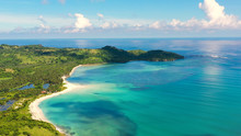 A Tropical Island With A Turquoise Lagoon And A Sandbank. Caramoan Islands, Philippines. Beautiful Islands, View From Above. Summer And Travel Vacation Concept.