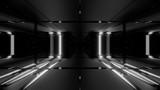 Fototapeta Perspektywa 3d - 3d illustration background with futuristic scifi high contrast glass tunnel, 3d rendering wallpaper with dark sci-fi tunnel corridor
