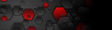 Red And Black Hexagons On Dark...