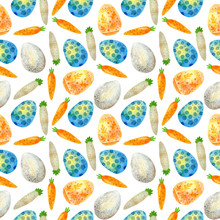 Set Of Watercolor Easter Elements. Seamless Pattern. Colored Eggs With Ribbons, Carrots. Watercolor Drawing.