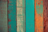Vintage wood background texture old wood material or Vintage wallpaper colors Patterned of brightly colored panels of weathered painted wooden boards