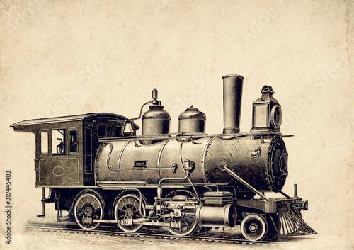 Steampunk Vintage Erfindungen und Patente der Dampfmaschine, Mogul Lokomotive, Canvas Print
