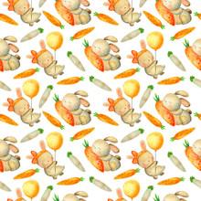 Set Of Easter Bunnies, Carrots...