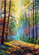 Oil painting. Amazing autumn forest in morning sunlight. Red and yellow leaves on trees in woodland. Golden park alley landscape