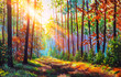 Autumn oil painting. Autumn forest with sunlight. Path in forest through trees with vivid colorful leaves. Beautiful fall background. Fall scenery wonderland art.