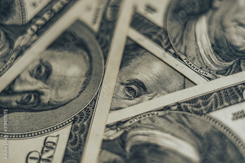 Fototapety, obrazy: Close up Franklin's face on a one hundred dollar. American, US Dollars Cash Money background..