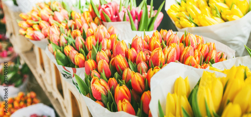 Fotografie, Obraz tulips for sale at street flowers market