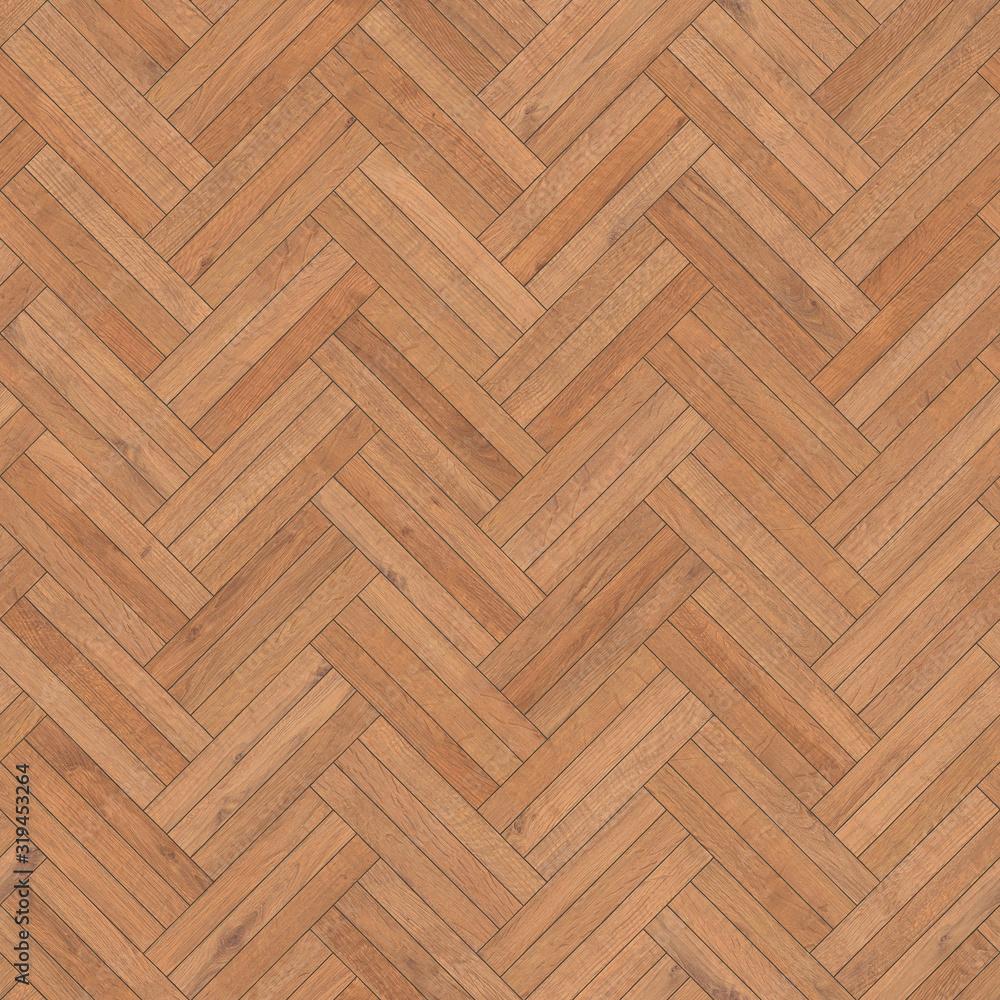 Seamless wood parquet texture herringbone sand color - obrazy, fototapety, plakaty