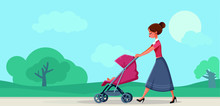 Mother With Baby In Pram Walki...