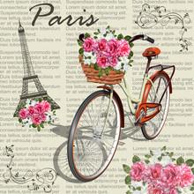 Paris Vintage Poster.Newspaper...
