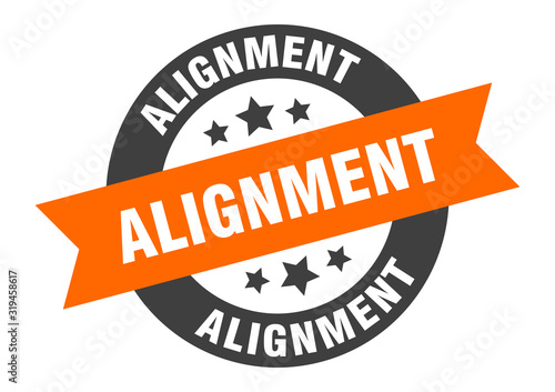 alignment sign. alignment round ribbon sticker. alignment tag Wallpaper Mural