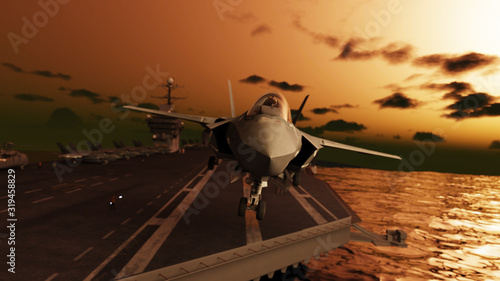 American stealth jet take-off from aircraft carrier at dawn 3d render Canvas Print