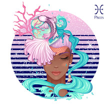 Zodiac. Vector Illustration Of The Astrological Sign Of Pisces As A Beautiful Fashion African American Girl In Hat. Sign Inscribed In A Round Shape Isolated On White Background. Fashion Woman