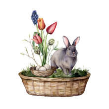 Watercolor Easter Card With A Rabbit And Tulips. Hand Painted Rabbit, Basket, Eggs, Grass And Leaves Isolated On A White Background. Spring Illustration For Design, Print, Fabric Or Background.