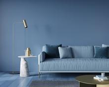 Living Room In Monochrome Blue