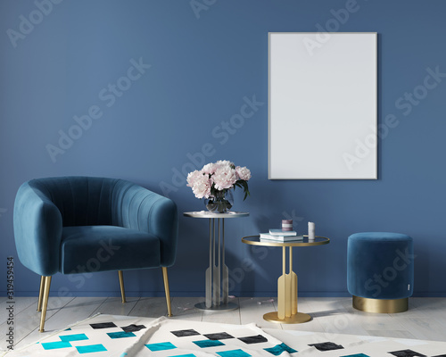 Fotografie, Obraz Blue interior with velvet armchair and metal tables