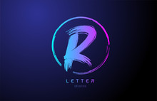 Alphabet R Letter Logo Grunge Brush Blue Pink Logo Icon Design Template