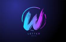 Alphabet W Letter Logo Grunge Brush Blue Pink Logo Icon Design Template