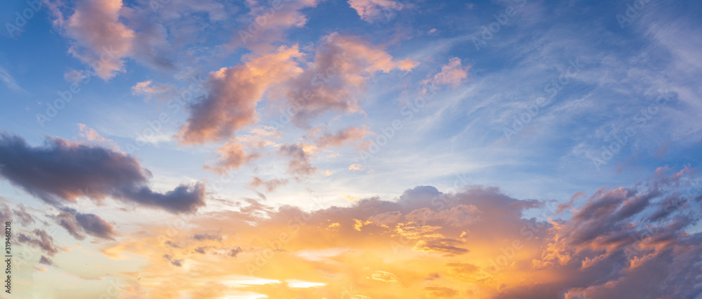 Fototapeta Panorama sunset sky and beautiful cloud, background concept.