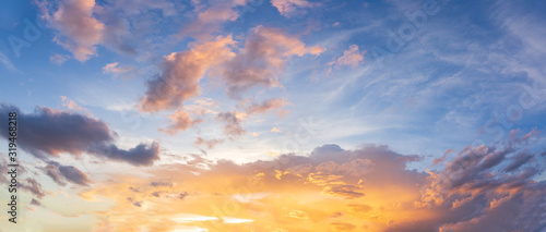 Fototapety, obrazy: Panorama sunset sky and beautiful cloud, background concept.