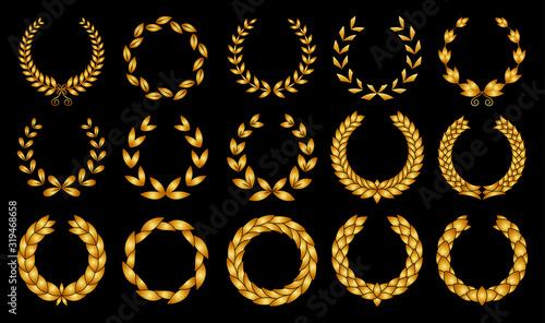 Vászonkép Collection of different golden silhouette circular laurel foliate, wheat and oak wreaths depicting an award, achievement, heraldry, nobility