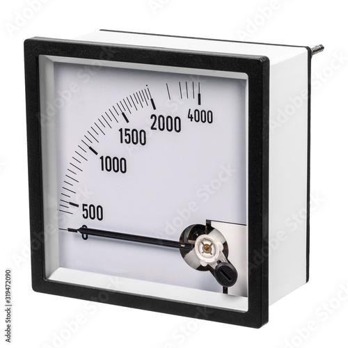 Analog ammeter or voltmeter with dial and arrow on a white background Canvas Print