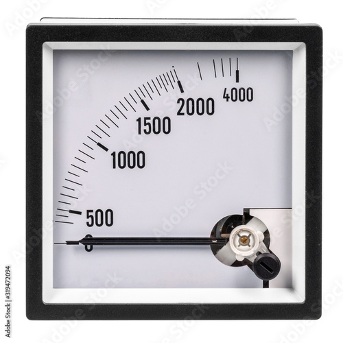 Analog ammeter or voltmeter with dial and arrow on a white background Wallpaper Mural