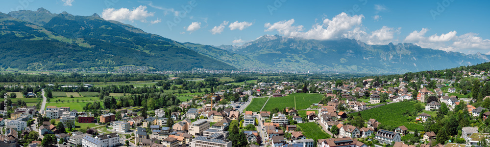 Fototapeta Beautiful panoramic summer view of the capital of Liechtenstein Vaduz and the Swiss Alps in the background.