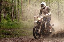 Rider On Enduro Motorcycle Rid...