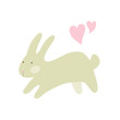 Vector illustration of Easter or Valentine rabbit with two pink hearts isolated on white background. Cute cartoon character for your design card, scrapbook or party